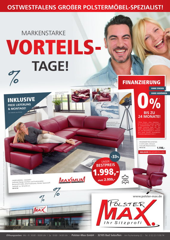 aktuelle werbung polster max. Black Bedroom Furniture Sets. Home Design Ideas